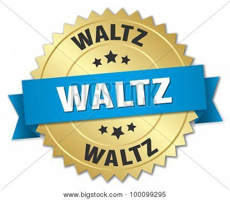 Waltz 3D Gold Badge With Blue Ribbon