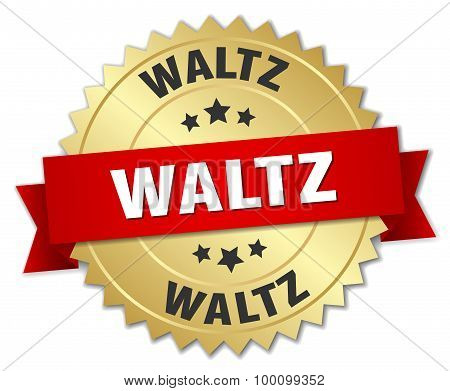 Waltz 3D Gold Badge With Red Ribbon
