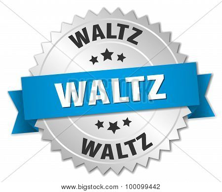 Waltz 3D Silver Badge With Blue Ribbon