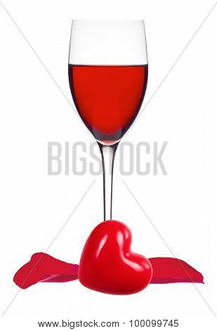 Glass Of Red Wine, Rose Petals And Heart Isolated On White Background