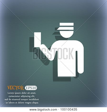 Inspector Icon Symbol On The Blue-green Abstract Background With Shadow And Space For Your Text. Vec