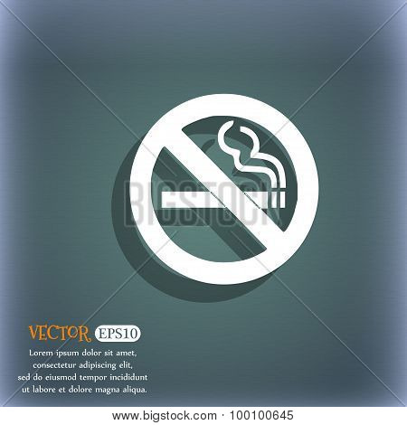 No Smoking Icon Symbol On The Blue-green Abstract Background With Shadow And Space For Your Text. Ve
