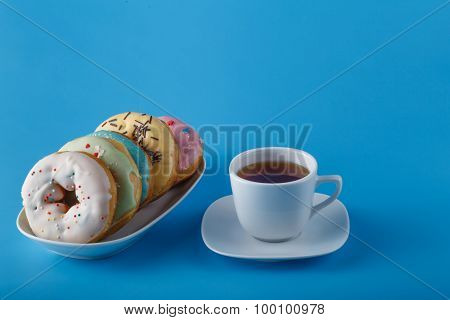 Donuts With Cup Of Tea