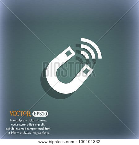 Magnet Icon Symbol On The Blue-green Abstract Background With Shadow And Space For Your Text. Vector