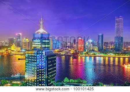 Shanghai, China - May 23, 2015:beautiful View Of  Shanghai -  Bund Or Waitan Waterfront At Night. Sh