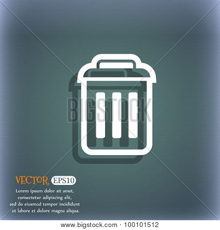 The Trash Icon Symbol On The Blue-green Abstract Background With Shadow And Space For Your Text. Vec