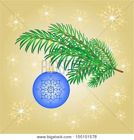 Christmas Decoration Branch With  Blue Balls Vector