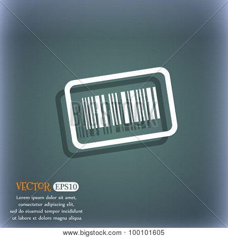 Barcode Icon Symbol On The Blue-green Abstract Background With Shadow And Space For Your Text. Vecto