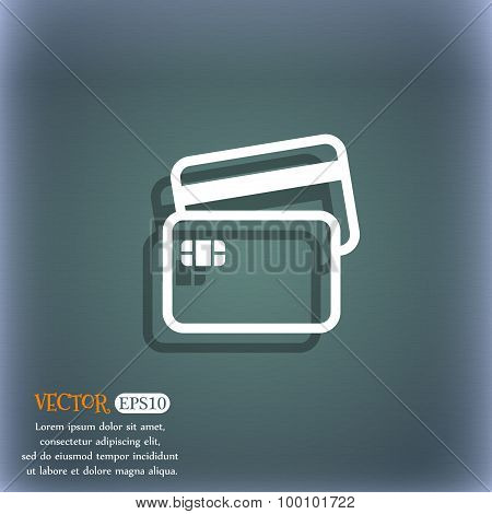 Credit Card Icon Symbol On The Blue-green Abstract Background With Shadow And Space For Your Text. V