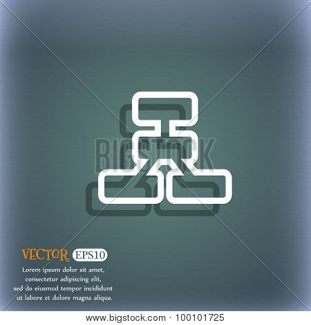 Network Icon Symbol On The Blue-green Abstract Background With Shadow And Space For Your Text. Vecto