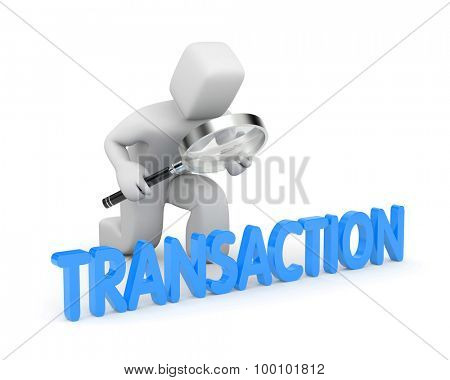Person examines their transactions. Finance metaphor