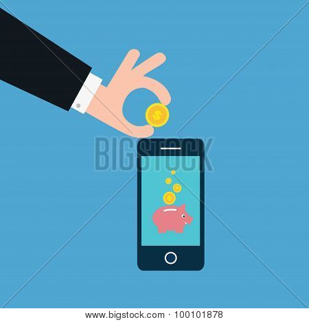 Vector Of Business Man Saving Money In Piggy Bank Online. Concept Of Profit Etc.