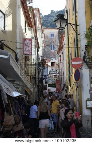 People  Walking And Doing Shopping In Sintra