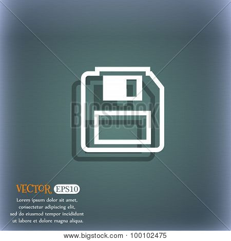 Floppy Disk Icon Symbol On The Blue-green Abstract Background With Shadow And Space For Your Text. V