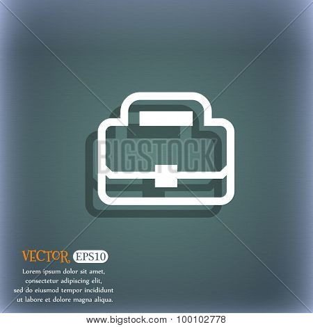 Briefcase Icon Symbol On The Blue-green Abstract Background With Shadow And Space For Your Text. Vec