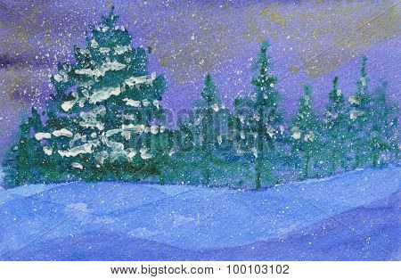 Winter Snowy Starry Night In The Forest.