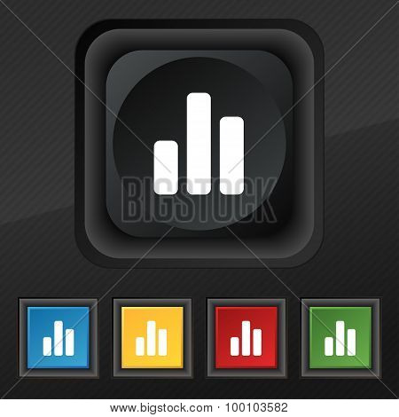 Growth And Development Concept. Graph Of Rate  Icon Symbol. Set Of Five Colorful, Stylish Buttons On