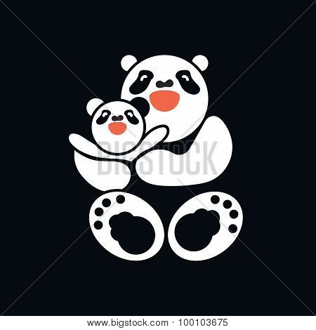Sticker, Card With Happy Father And Child Panda