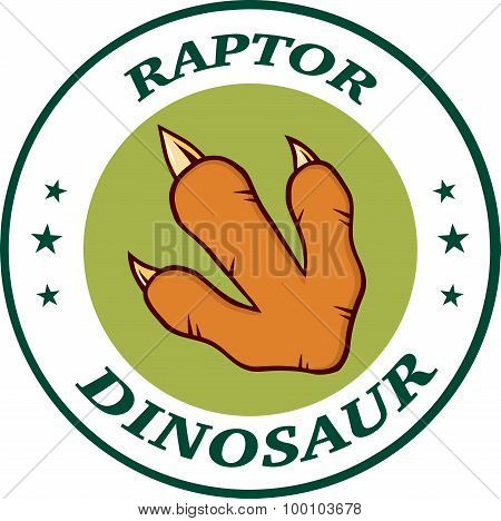 Red Dinosaur Paw With Claws Circle Logo Design With Text