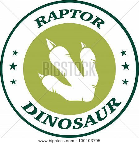 Dinosaur Footprint Green Circle Label Design With Text