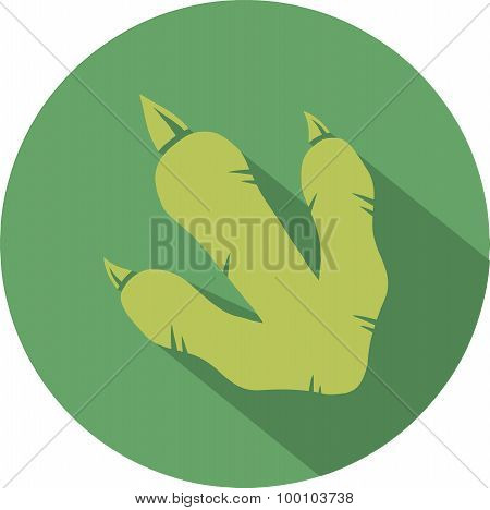 Green Dinosaur Footprint Circle Flat Design Icon