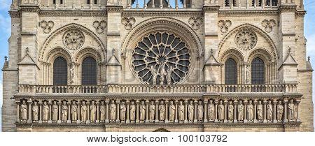 Central Part Of Cathedral Notre Dame De Paris Western Facade