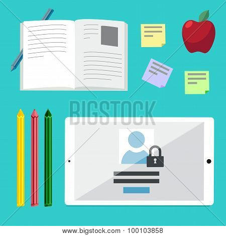 Flat Illustration Concepts For Education, Online Tutorials, Rese