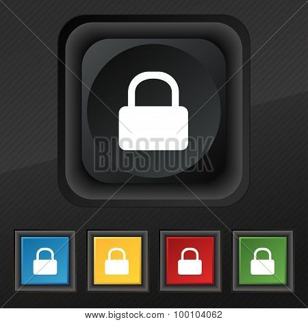 Pad Lock  Icon Symbol. Set Of Five Colorful, Stylish Buttons On Black Texture For Your Design. Vecto