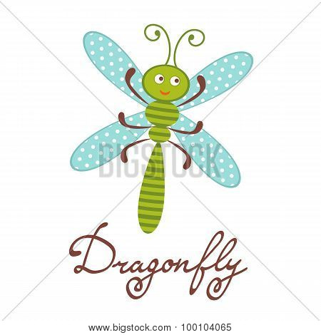 Cute colorful dragonfly character