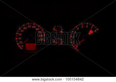Backlit Gauges Of A Car