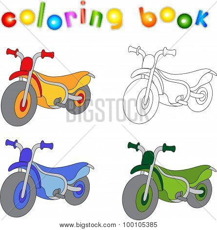 Funny Cartoon Motorcycle. Coloring Book For Kids