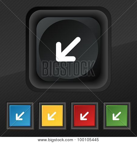 Turn To Full Screen Icon Symbol. Set Of Five Colorful, Stylish Buttons On Black Texture For Your Des