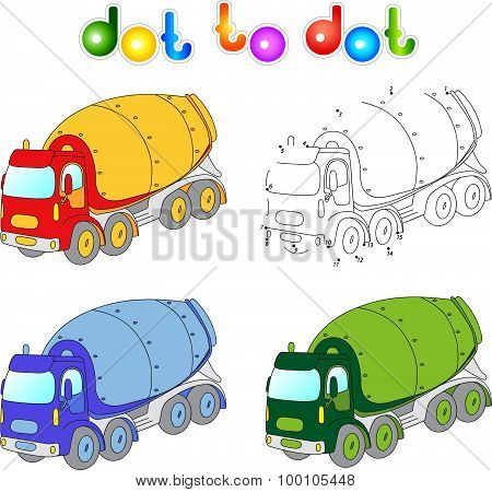 Funny Cartoon Cement Mixer. Connect Dots And Get Image. Educational Game For Kids