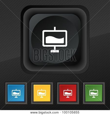 Presentation Billboard  Icon Symbol. Set Of Five Colorful, Stylish Buttons On Black Texture For Your