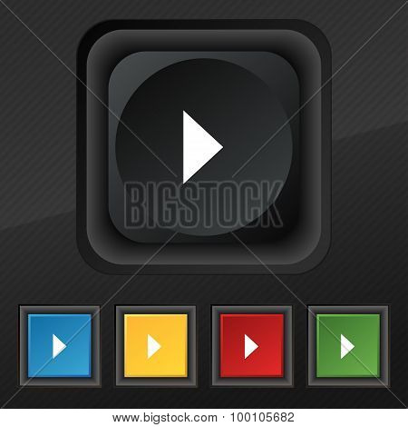 Play Button  Icon Symbol. Set Of Five Colorful, Stylish Buttons On Black Texture For Your Design. Ve