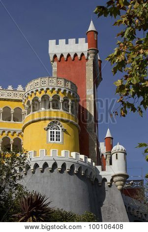 Close Up Of Pena Castle In Sintra