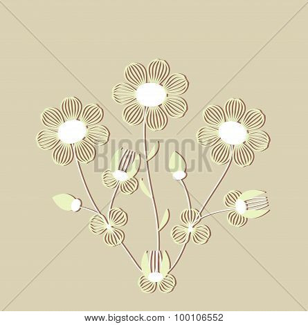Bright floral elements in vector.