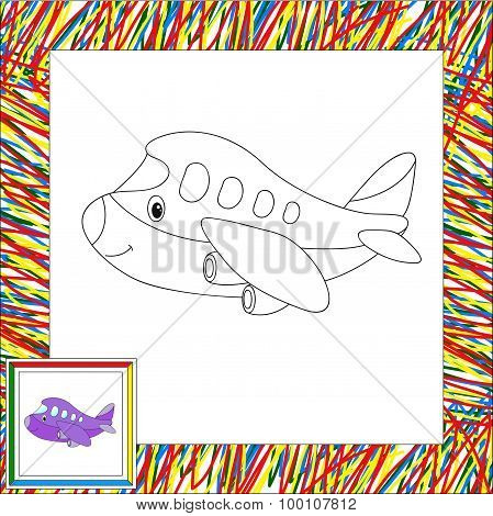 Funny Cartoon Aircraft. Coloring Book For Children