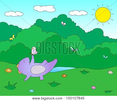 Cute Chubby Dragon Is Playing With Dragonflies And Butterflies On Blooming Spring Meadow