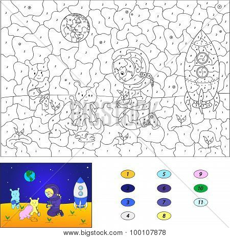 Color By Number Educational Game For Kids. Astronaut And Aliens Put Plants On The Moon. Vector Illus