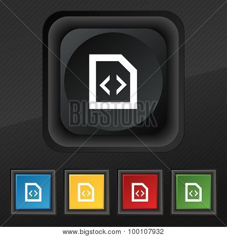 Script  Icon Symbol. Set Of Five Colorful, Stylish Buttons On Black Texture For Your Design. Vector