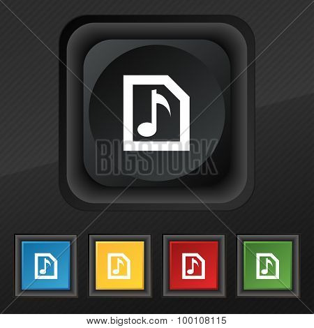 Audio, Mp3 File  Icon Symbol. Set Of Five Colorful, Stylish Buttons On Black Texture For Your Design