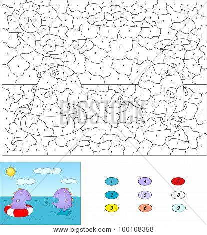 Color By Number Educational Game For Kids. Purple Dragon Swiming In The Sea With A Buoy And Squirtin
