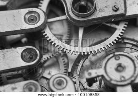 Black And White Macro Photo Close-up View Of Metal Clockwork