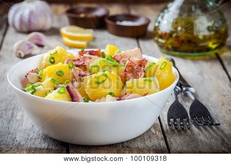 Italian Food: Salad With Octopus, Potatoes And Onions