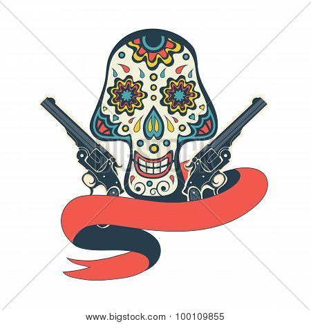 Day of the dead card with vintage skull, flowers and guns