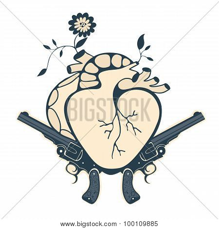 Vintage style emblem with human heart and two revolvers