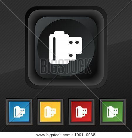 35 Mm Negative Films  Icon Symbol. Set Of Five Colorful, Stylish Buttons On Black Texture For Your D