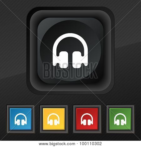 Headphones, Earphones  Icon Symbol. Set Of Five Colorful, Stylish Buttons On Black Texture For Your