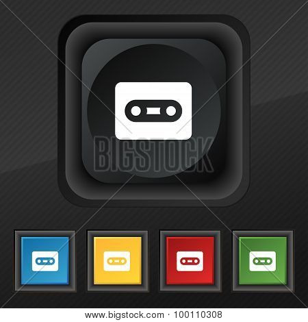 Cassette  Icon Symbol. Set Of Five Colorful, Stylish Buttons On Black Texture For Your Design. Vecto